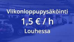 Louhen parkkihallissa pysäköinti viikonloppuisin 1,5€/h