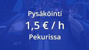 Pysäköinti Pekurin parkkihallissa 1,5€/h